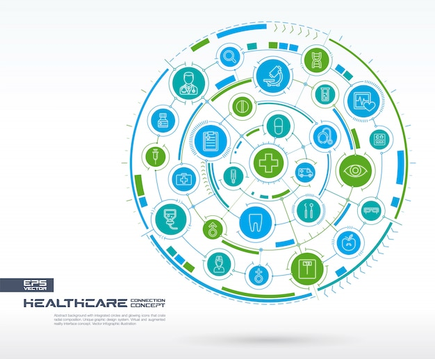 Abstraktes gesundheitswesen, medizinischer hintergrund. digitales verbindungssystem mit integrierten kreisen und leuchtenden symbolen für dünne linien. netzwerksystemgruppe, schnittstellenkonzept. zukünftige infografik illustration