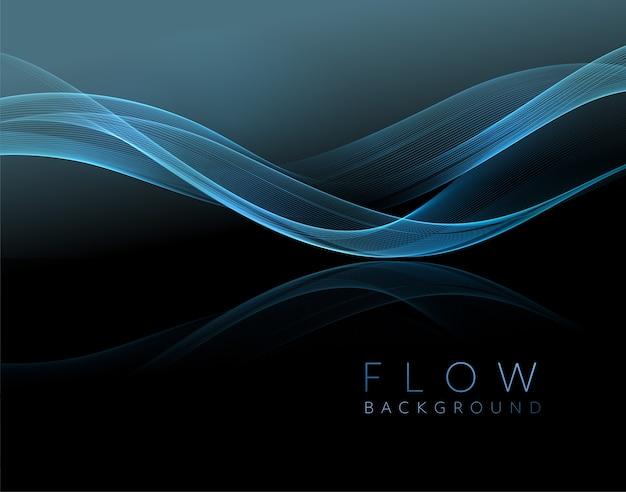 Abstraktes glänzendes blaues wellenelement. strömungswelle auf dunklem hintergrund.