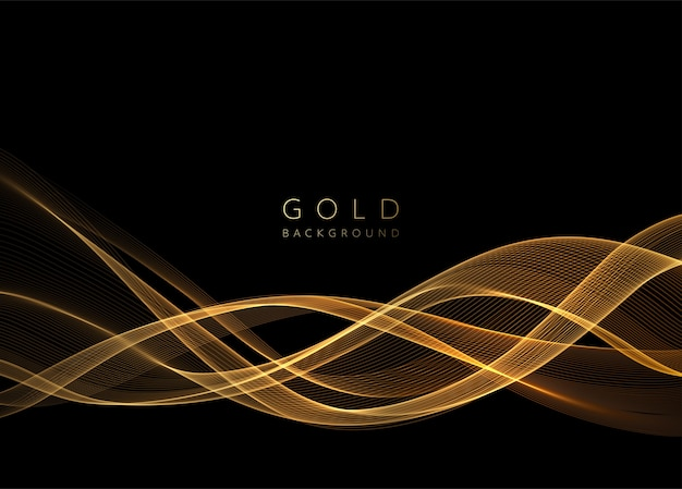Abstraktes glänzendes goldenes wellenelement. fließen sie goldwelle auf dunklem hintergrund.
