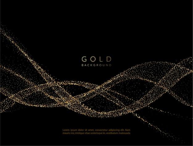 Abstraktes glänzendes goldenes wellenelement mit glitzereffekt. fließen sie goldwelle auf dunklem hintergrund.