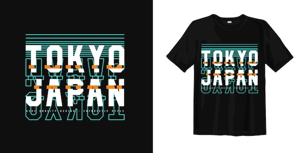 Abstraktes glitch-t-shirt-design der grafiktypografie von tokio japan