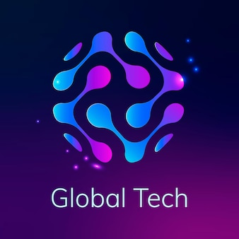 Abstraktes globe-technologie-logo mit globalem tech-text in violettem ton