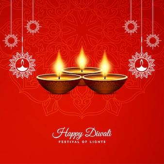 Abstraktes glückliches diwali-festivalrot