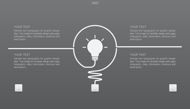 Abstraktes glühbirnensymbol und lichtschalter auf grauem hintergrund. vektor-illustration.