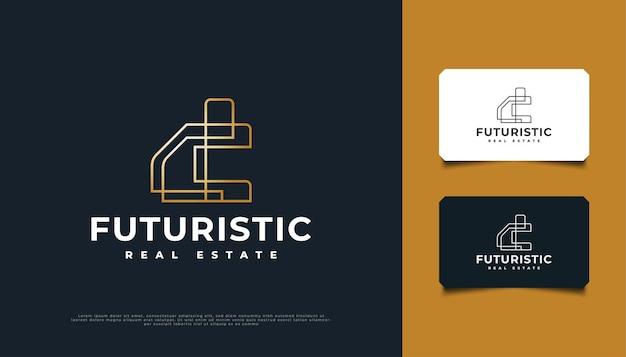 Abstraktes gold-futuristisches immobilien-logo-design mit linienstil. bau-, architektur- oder gebäudelogo-designvorlage