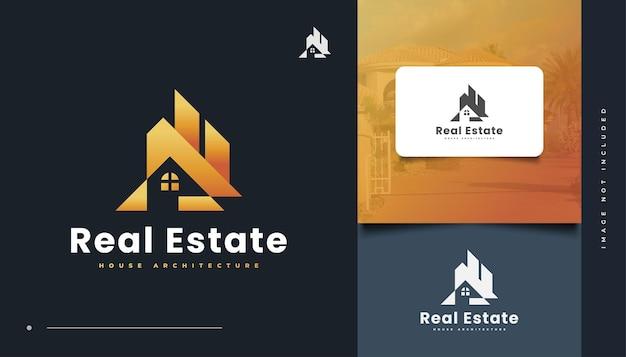 Abstraktes gold house logo design für logos der immobilienbranche. bau-, architektur- oder gebäudelogo