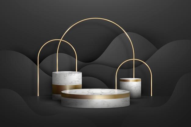 Abstraktes goldenes geometrisches podium mit formen
