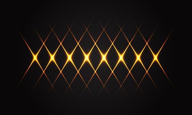 Abstraktes goldenes lichtlinienkreuzmuster auf futuristischer technologie des schwarzen hintergrundluxus.