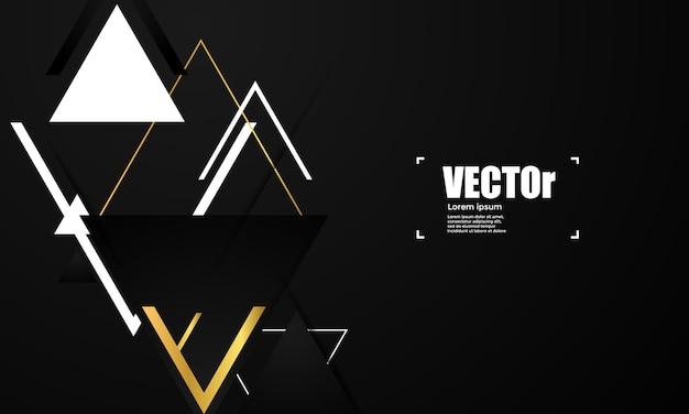 Abstraktes goldgeometrischer vektorhintergrund mit dreiecken.