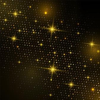 Abstraktes goldquadrat-halbtonbild mit funkelndem licht auf schwarzem