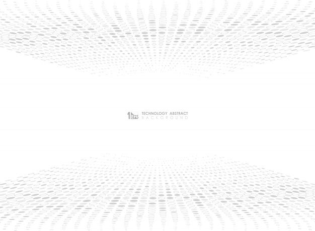 Abstraktes graues punktkreis-musterdesign der technologie auf weißem hintergrund