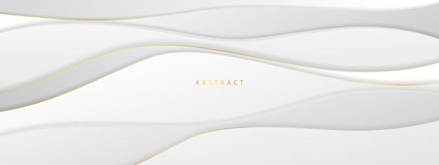 Abstraktes graues und goldenes banner mit dynamischen wellen.