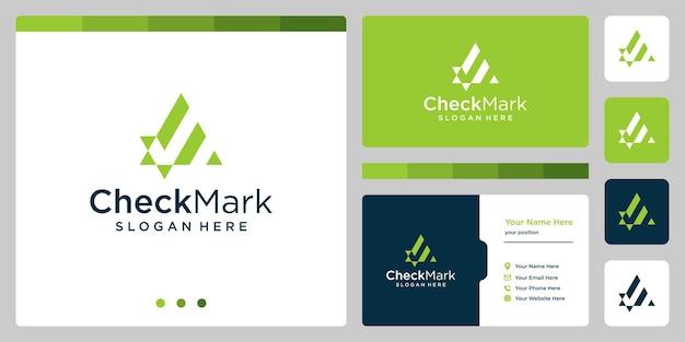 Abstraktes häkchen-logo. premium-vektoren. visitenkarten-vorlagendesign