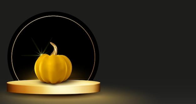 Abstraktes halloween-verkaufsbanner mit goldenem podium des schwarzen hintergrundes und realistischem modernem kürbis