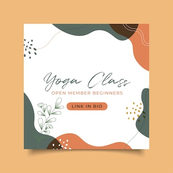 Abstraktes handgezeichnetes yoga-klassenplakat instagram-post