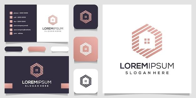 Abstraktes haus mit sechseck-konzept-logo-design-visitenkarte