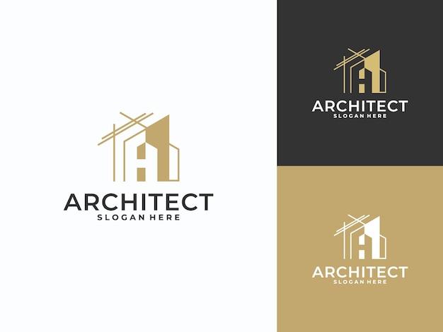 Abstraktes hausrenovierungslogo, kombinationsbuchstabe a des architektenlogos