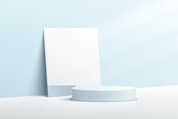Abstraktes hellblaues zylindrisches 3d-sockelpodest mit rechteckigen spiegeln und beleuchtung