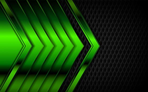 Abstraktes hellgrünes auf dunklem metall formt hintergrund