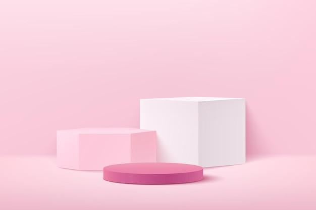 Abstraktes hellrosa würfelsechseck und runde anzeige für produkt auf website in modern.
