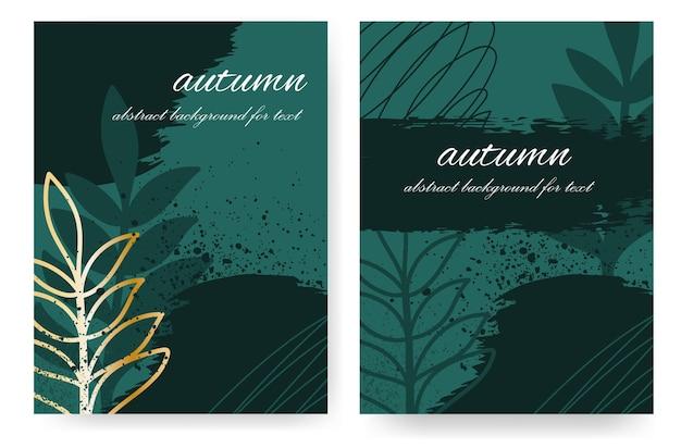 Abstraktes herbstdesign mit pinselstrichen in dunkelgrünen farbtönen mit einem goldenen naturelement. hochformat