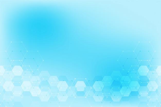 Abstraktes hexagonmuster für medizinisches oder wissenschaftliches und technologisches modernes design. abstrakter beschaffenheitshintergrund mit molekülstrukturen und verfahrenstechnik.