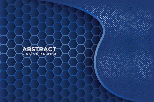 Abstraktes hexagonmuster mit blauer überlappung.