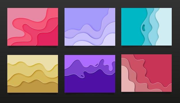 Abstraktes hintergrundset des 3d-papierschnitts und blaue, gelbe, rosa wellenschichten. abstraktes layoutdesign für broschüre und flyer. papierkunstillustration