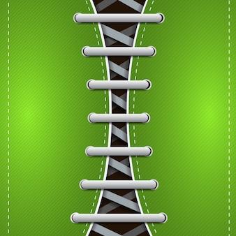 Abstraktes hipster-gummischuhkonzept mit grauen schnürsenkeln auf vektorillustration der grünen schrägen linien