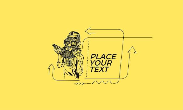 Abstraktes hipster-mann-flaches lineares promotion-muster für cover-design-vektor-hintergrund