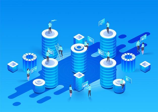 Abstraktes hochtechnologiekonzept. datenspeicher. geschäft mit web-cloud-technologie. internet-datendienste. isometrische darstellung.