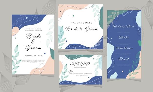 Abstraktes hochzeits-einladungs-karten-design wie als save the date