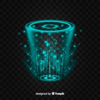 Abstraktes hologrammportal auf dunklem hintergrund