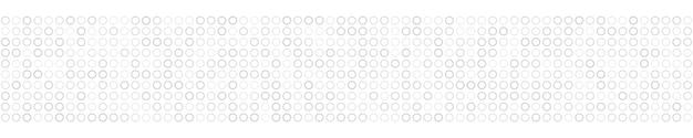 Abstraktes horizontales banner oder hintergrund von kleinen ringen in weißen farben.