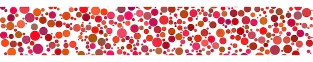 Abstraktes horizontales banner von kreisen unterschiedlicher größe in rottönen auf weißem hintergrund