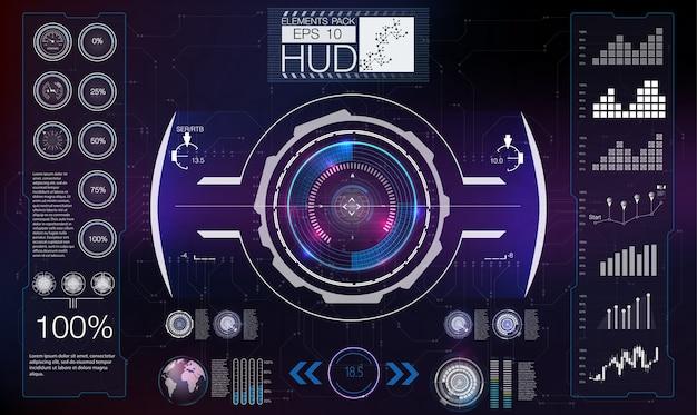 Abstraktes hud. futuristic sci fi modernes benutzeroberflächenset.