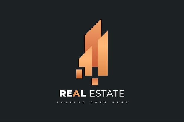 Abstraktes immobilien-logo-design in goldsteigung. bau-, architektur- oder gebäudelogo-designvorlage