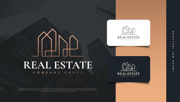 Abstraktes immobilien-logo-design mit linienstil. bau-, architektur- oder gebäudelogo-design
