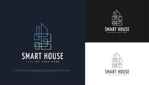 Abstraktes immobilien-logo-design mit linienstil.