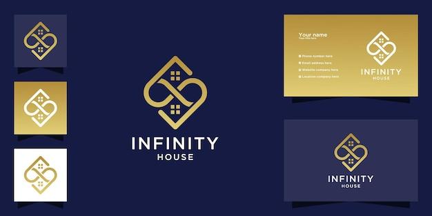 Abstraktes infinity-haus-logo-design und visitenkarte