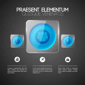 Abstraktes infografik-designkonzept mit blauen runden knöpfen der textgeschäftsikonen in den quadratischen glasrahmen