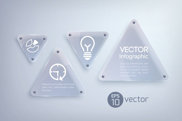 Abstraktes infografik-designkonzept mit glaslichtdreiecken und geschäftsikonen