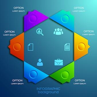 Abstraktes infografik-designkonzept mit sechs optionen und geschäftsikonen des bunten sechseckigen diagramms