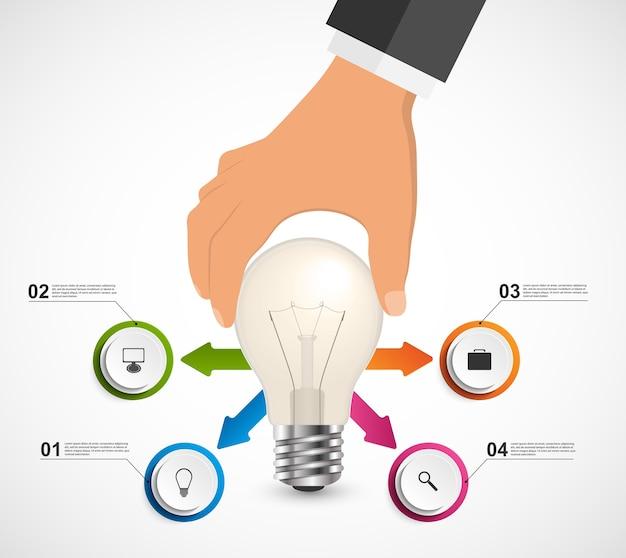 Abstraktes infographic mit der menschlichen hand, die glühlampefahne hält.