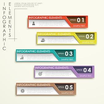 Abstraktes infographic schablonendesign mit bunten fahnen
