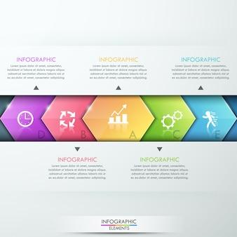 Abstraktes infographics schablonendesign mit glaspfeilen