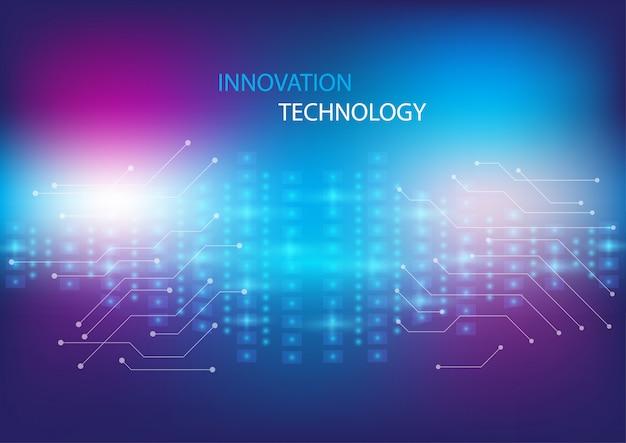 Abstraktes innovations- und technologiekonzept mit schaltungsdesign und lichteffektkonzepthintergrund.