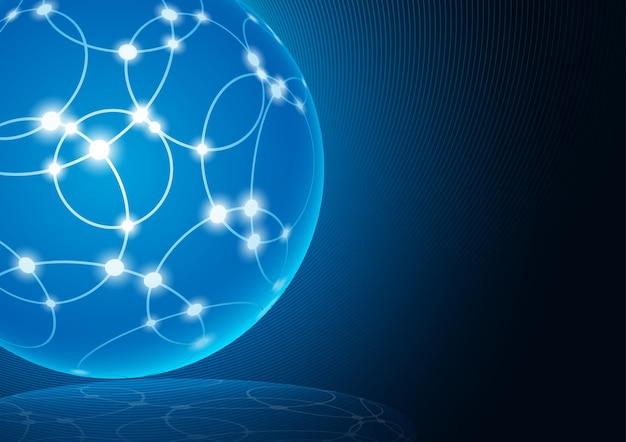 Abstraktes internet-mesh auf einer leuchtenden kugel