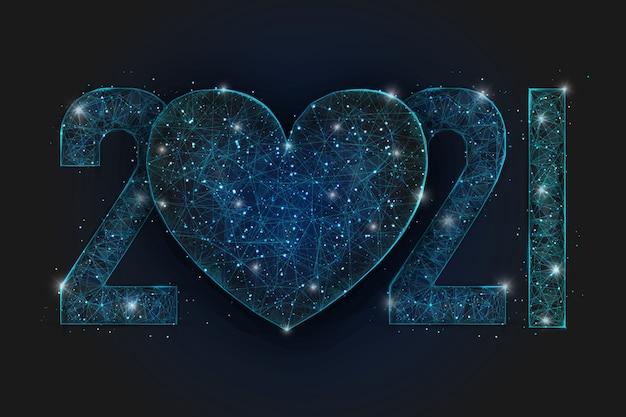 Abstraktes isoliertes blaues bild der neujahrszahl. polygonales niedriges poly-drahtgitter mit herz