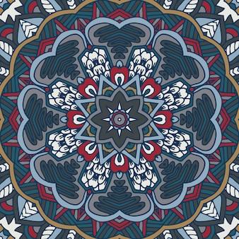 Abstraktes kaleidoskopisches mandalavektor ethnisches stammesmuster tri